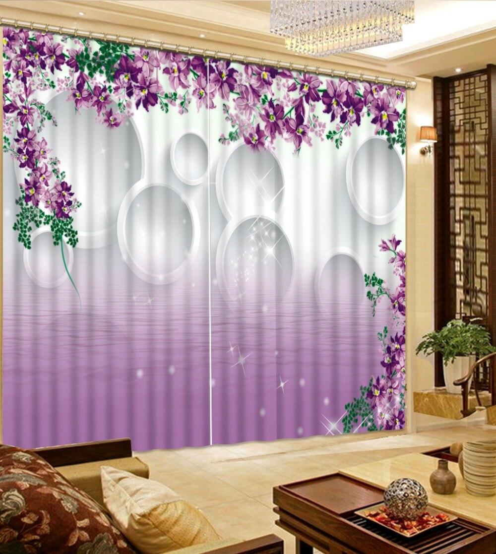 Simple et moderne 3D rideau impression Blockout Photo salon chambre fenêtre cercle eau surface fleur rideaux occultants