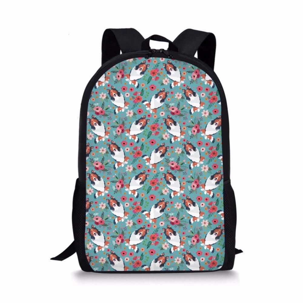 Coloranimal Siamese Cat Flower Children Youth Girl School Book Bags Crazy Horse Flower Large Backpack Shoulder Bags Bolsa Female