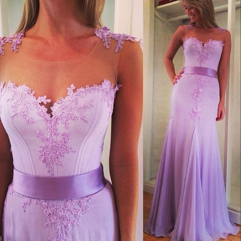 Custom made elegant A line Sexy see through beautiful lace appliques lavender formal party prom gown 2018   bridesmaid     dresses