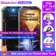 "Fast shipping on New Year Blackview BV9500 10000mAh IP68 Waterproof NFC 5.7""18:9 4G global Smartphone 64G MT6763T Android 8.1(China)"
