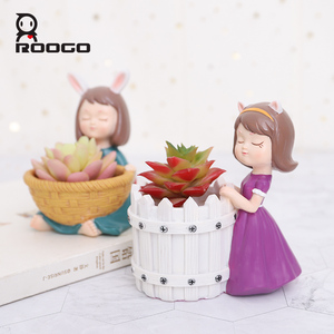 Image 2 - Roogo FlowerPot Resin American Style Flower Pots Decorative Cute Girl Succulents Plants Pot For Home Garden Balcony Decoration