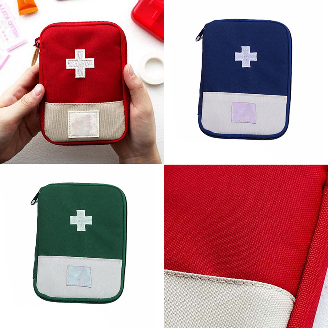 Practical Outdoor Home Survival Portable Edc Camping Equipment First Aid Kit Bag Case Convenient Handle For Easy-carrying
