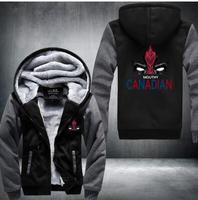 新しい冬ジャケットとコート糞デッドプールパーカーアニ� ��殺分隊パーカー厚いジッパー男性スウェット
