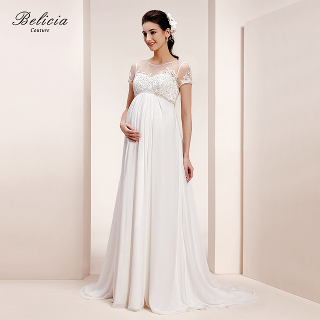 Belicia Couture Maternity Wedding Dress Lace Appliques Short Sleeves Tulle Bridal Gown For Pregnant Women A