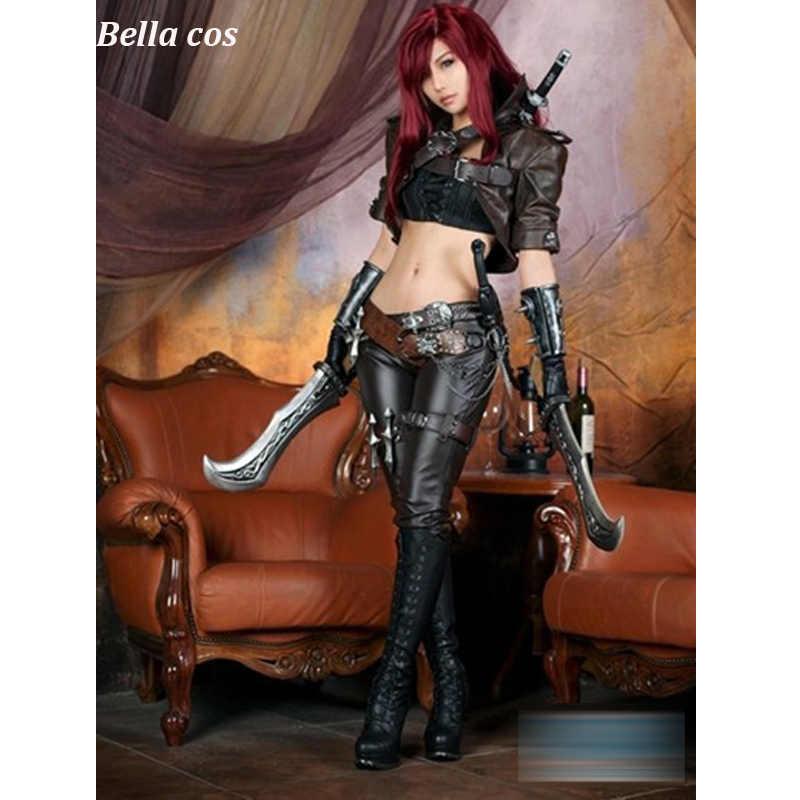 Пользовательские размеры LOL The sinister blade Катарина косплей костюм топ из полиэстера брюки полный комплект карнавал Хэллоуин аниме одежда костюмы cos
