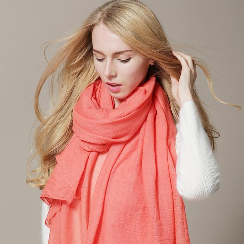 Outono 2019 Nova Chegada Cachecol Mulheres Se Vestem Cachecóis Inverno Quente Algodão Wraps Cores Sólidas Acessórios de Vestuário