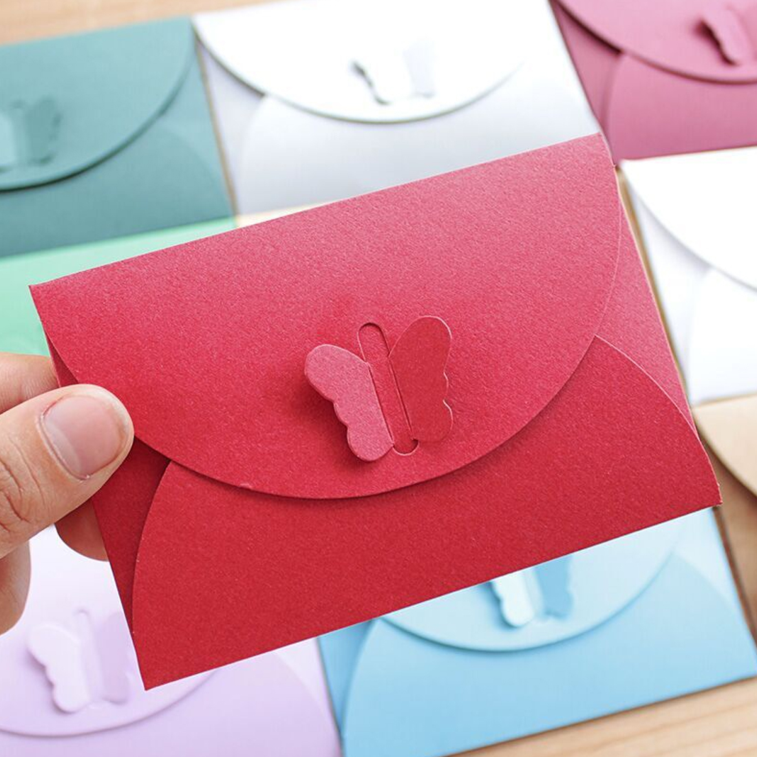FangNymph Colored Butterfly Buckle Kraft Paper Envelopes Simple Love Retro Buckle Decorative Envelope Small Paper Envelope 10PCS