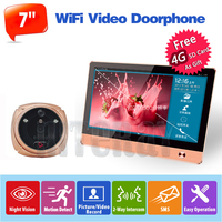 7 Inch Monitor Color Video Door Phone Intercom System Night Vision Peephole Camera 4GB SD Card
