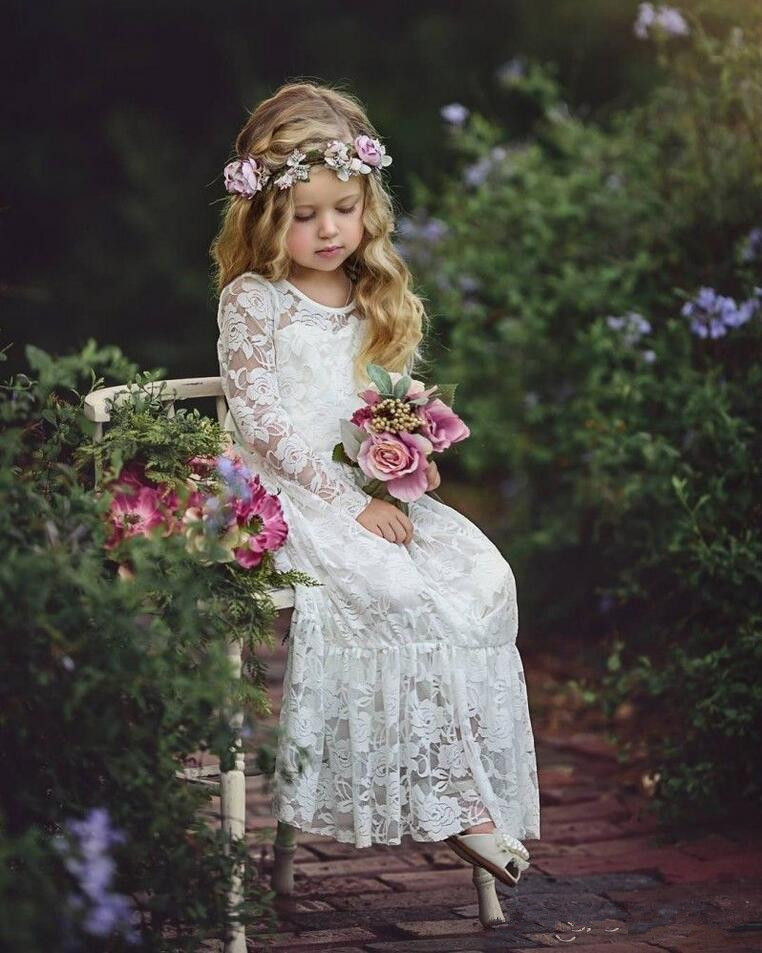 2019 Cute Country Cheap Full Lace   Flower     Girls     Dresses   Long Sleeves Ritzee   Girl   Pageant Party Gowns Teens Kids Formal Communion