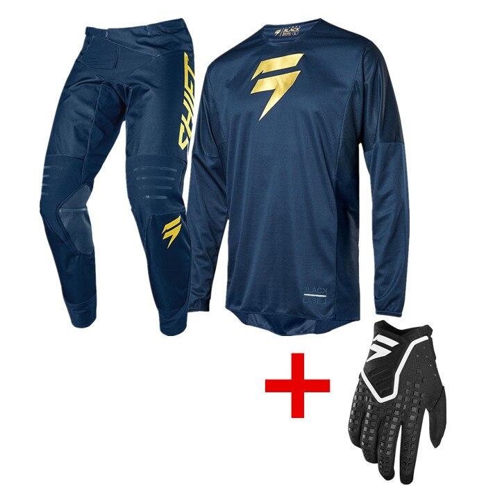 Nouveau MX 2019 Limited 3 manque ensemble de vitesse de Motocross bleu marine or moto Jersey et pantalon