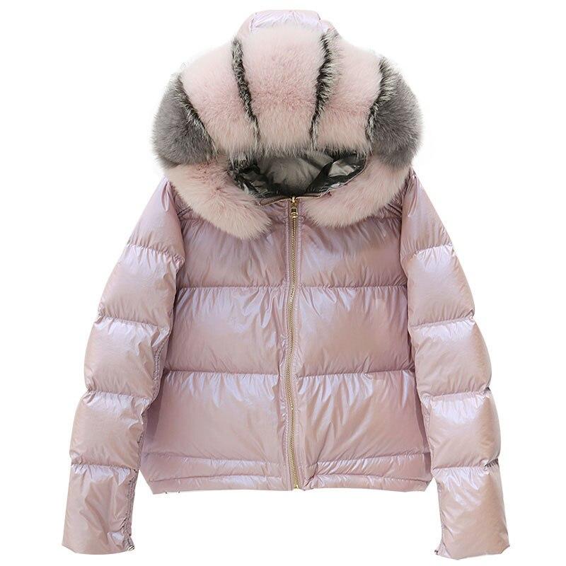 Winter Jacket Women Real Fur Collar Silver Golden Duck Down Coat Double Sided Hooded Parkas Waterproof