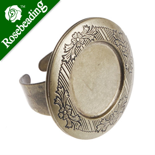 32MM Antique Antique Bronze plated Locket Ring Setting ,fit 20mm glass cabochon;bezel ring blank,Sold 10PCS Per Package