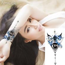 1PC дьявола глаз Горячий черный белый Большой цветок Хна Временная татуировка Черный Mehndi Стиль Водонепроницаемый татуировки наклейки