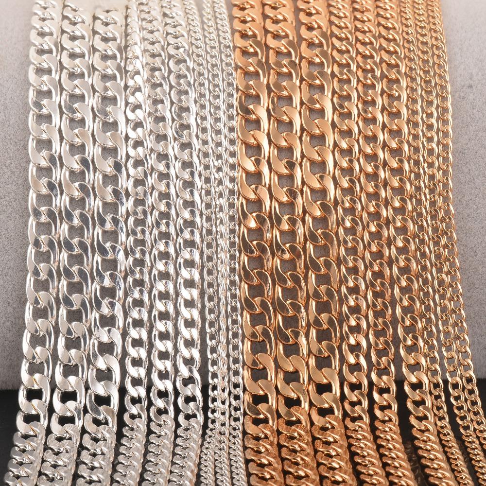 1 шт. фигаро цепи ожерелье с церебральным покрытием и золотой personalzied длина, ювелирные изделия поиск цепь для колон 3 мм 5 мм 7 мм