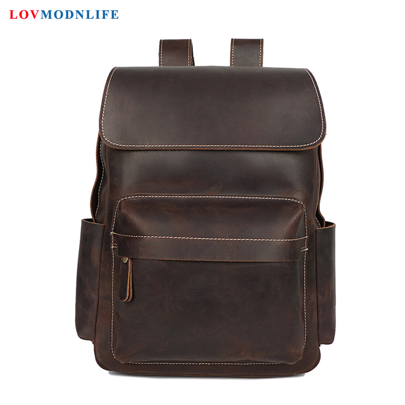 Luxury Men's Travel Bag Backpacks Anti Theft Cow Leather Men Laptop Backpack Retro Male Bagpack Genuine Leather School Bags 2019