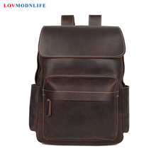 Luxury Men's Travel Bag Backpacks Anti Theft Cow Leather Men Laptop Backpack Retro Male Bagpack Genuine Leather School Bags 2019 new cow genuine leather men backpacks fashion real natural leather student backpack boy luxury brand lager computer laptop bag
