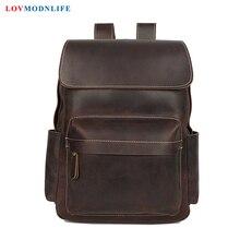 Luxury Men's Travel Bag Backpacks Anti Theft Cow Leather Men Laptop Backpack Retro Male Bagpack Genuine Leather School Bags 2019 цены