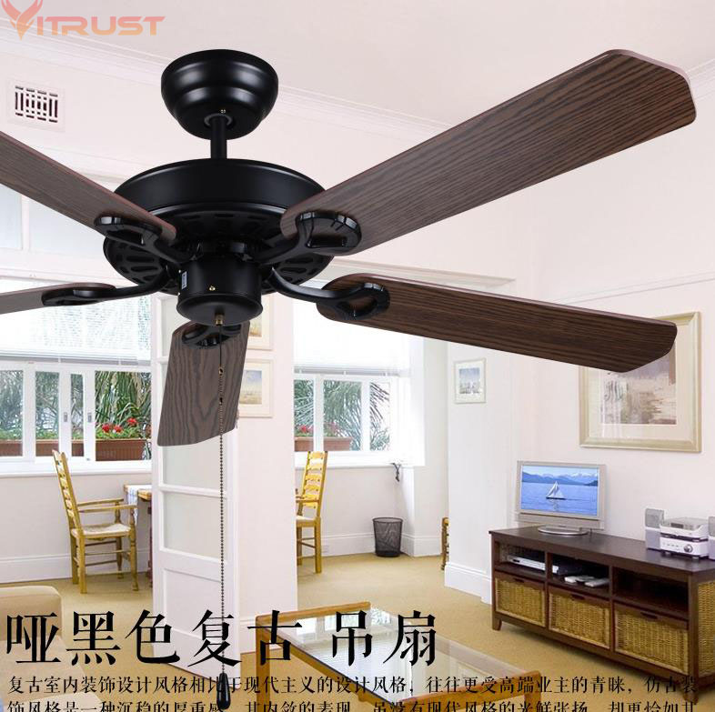 Lukloy Restaurant Ceiling Fan Pendant Light Living Room American Retro Industrial Remote Control Antique Wood Leaf Fan Lamp Without Return Ceiling Lights & Fans Ceiling Fans
