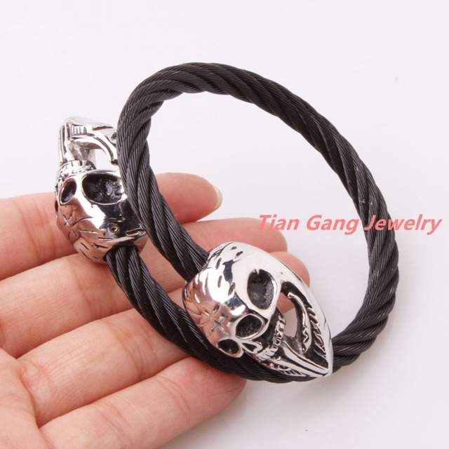 New Fashion 316L Stainless Steel Black Tone Cable Wire Chain Twisted Silver Skull Cuff Bangle Mens Boys Bracelet Christmas Gift