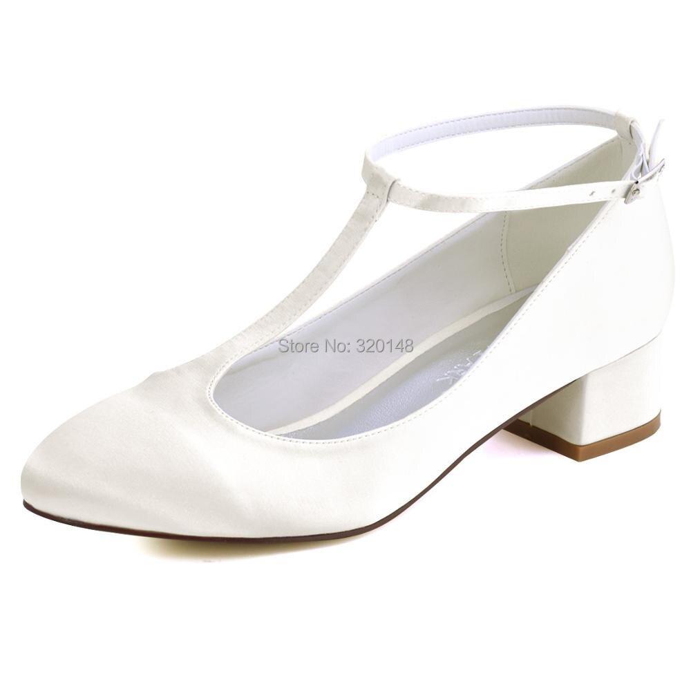 ElegantPark HC1801 Femmes Mary Jane Bout ferm/é Talon haut bloc Escarpins Boucle Satin Chaussures de mari/ée de mariage