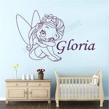 Cute Cartoon Elf Girl Wall Sticker Kidsroom Girls Custom Name Room Decortion Poster Babyroom Mural Beauty Decor LY1154