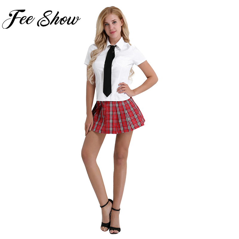 Feeshow Sexy Women Adult Cosplay Costumes Schoolgirl Student Uniforms Suit White Short Sleeve Shirt & Red Pleated Skirt Tie Sets