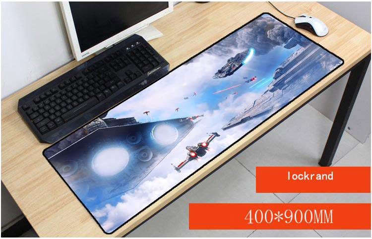 Yuzuoan Star Wars large notbook computer mousepad gaming Lock Edge padmouse gamer to laptop 90x40cm mouse For CSGO DOTA LOL Gift image