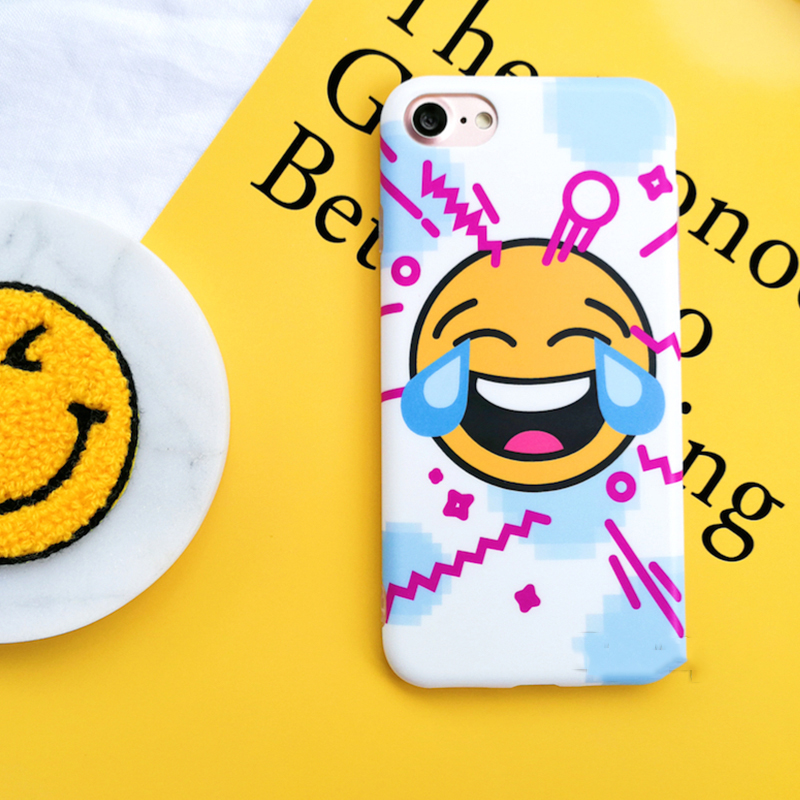 Cute Cartoon Smiley Face Cry Emoji for iPhone 7 Phone Case for iPhone 7Plus 6 6s s Plus All-inclusive Soft Couple Cover