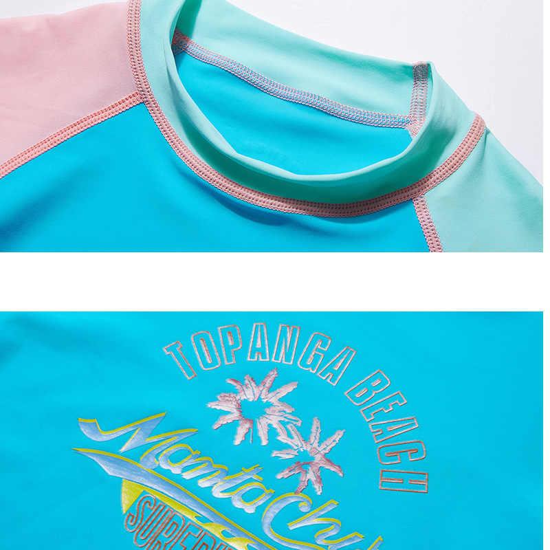 الشباب قصيرة الأكمام Rashguard ملابس UPF 50 + طفح الحرس رياضية قمم سريعة الجافة تصفح Rashguard الفتيات الفتيان الاطفال 4-12Y