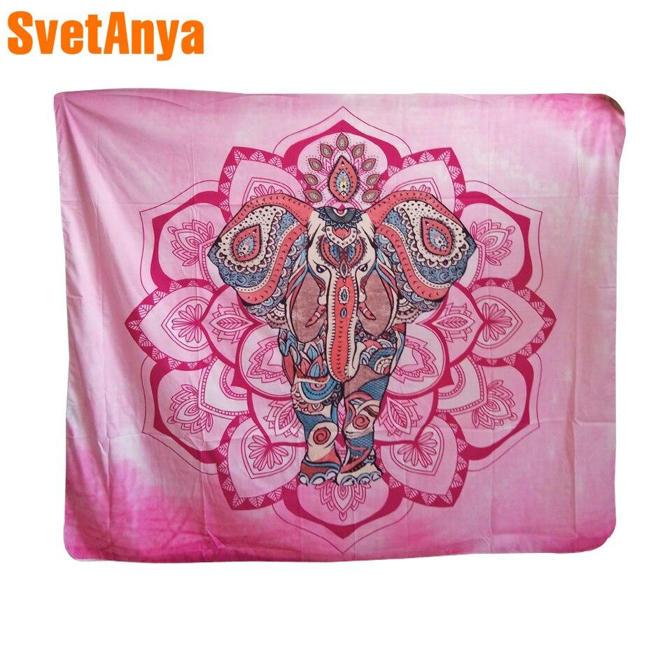 Paisley Lotus Elephant Pink Mandala Ganesha Chakras Soft Polyester India Tapestry Wall Carpet Clothes 148x130cm/148x210cm