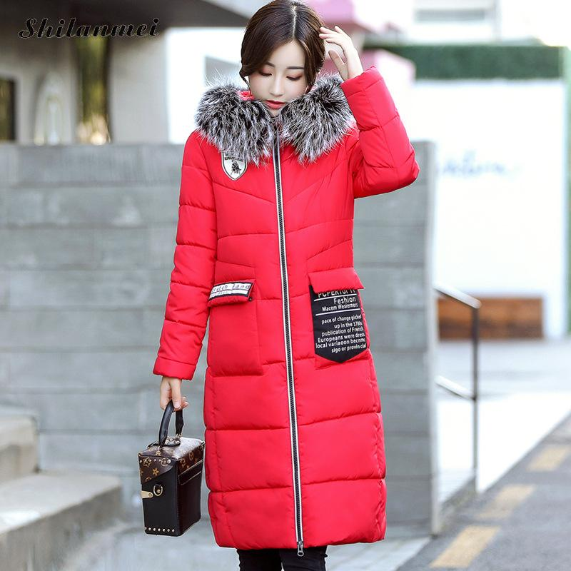 Korean Fashion Letter print Long Jacket Thick Femme Outwear Snow Wear 2017 Winter Women Jacket Cotton Coat Fur Collar Hood Parka snow wear 2017 high quality winter women jacket cotton coats fur collar hooded parkas fashion long thick femme outwear cm1346