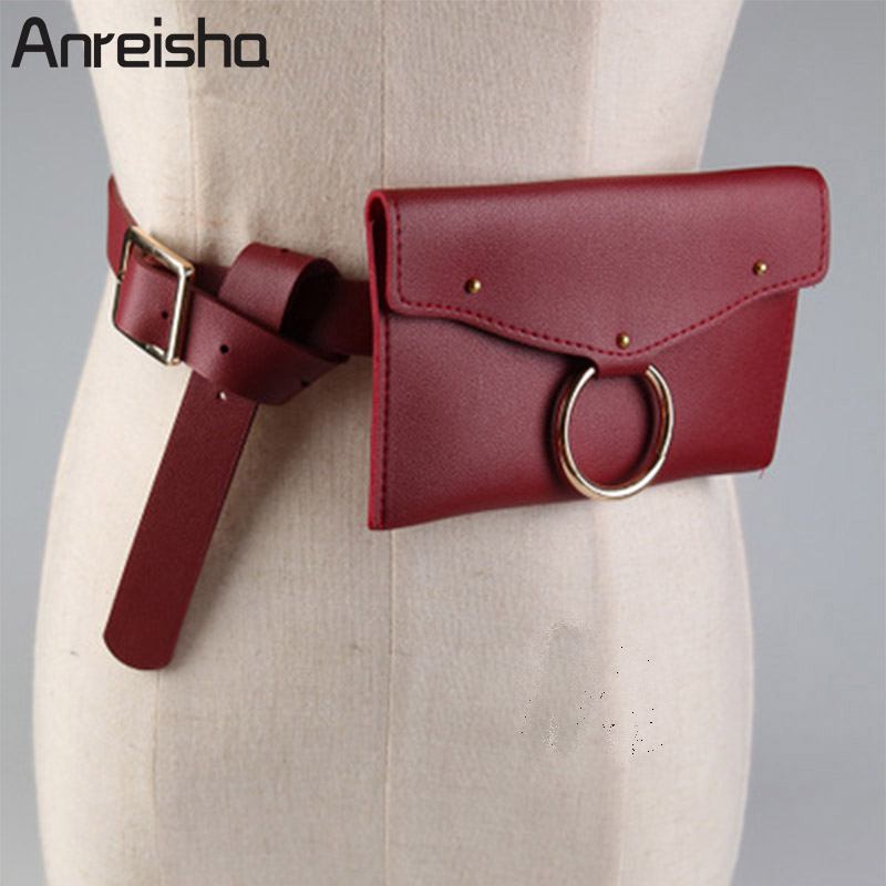 Anreisha Autumn/Winter Women Waist Bag Soft PU Leather Waist Bag Pack Girl Fashion Belt Bag Travel Pouch Fanny Money Bags 70