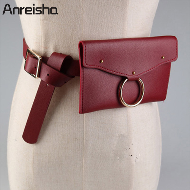 Anreisha Autumn/Winter Women Waist Bag Soft PU Leather Waist Bag Pack Girl Fashion Belt Bag Travel Pouch Fanny Money Bags 70