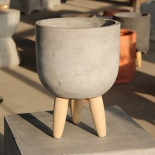 Home Modern Style Flowerpot Micro Landscape Creative Bowl Shaped Wood Leg Flowerpot Decoration Cement Bonsai Garden Decoration