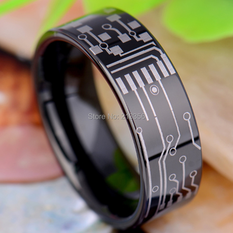 Free Shipping!USA Hot Sales E&C TUNGSTEN LUXURY JEWELRY 8MM CIRCUIT BOARD SHINY BLACK PIPE THE LORD MENS TUNGSTEN WEDDING RING