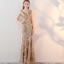 בציר צווארון V ערב אורך רצפת שמלות זהב ערב מסיבת שמלות כסף פאייטים בת ים סגנון קדמי פיצול ערב שמלות