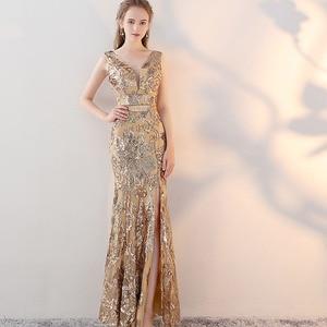 Image 1 - ヴィンテージ V ネックイブニングドレス床の長さのイブニングパーティードレスシルバースパンコールマーメイドスタイルフロントスプリットイブニングドレス