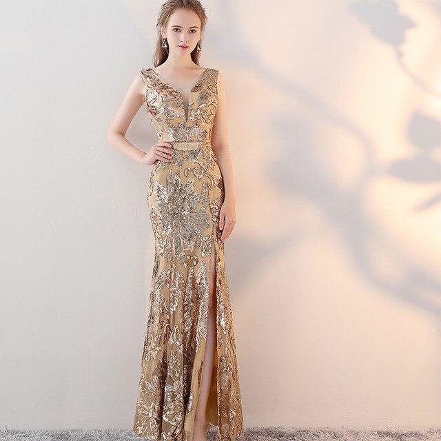 ヴィンテージ V ネックイブニングドレス床の長さのイブニングパーティードレスシルバースパンコールマーメイドスタイルフロントスプリットイブニングドレス