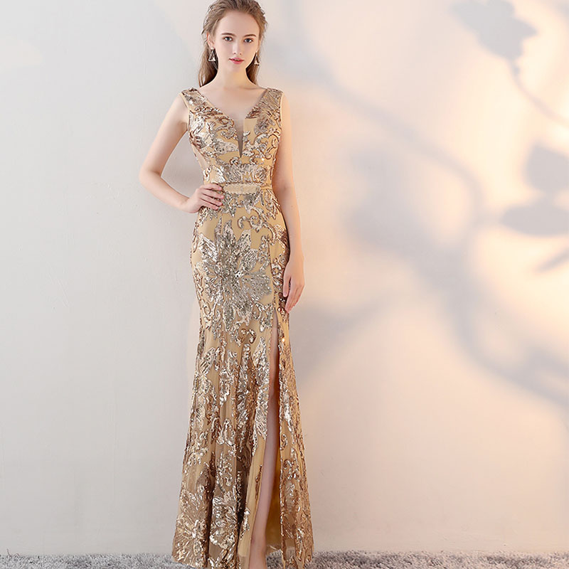 Vintage V-neck Evening Dresses Floor Length Gold Evening Party Dresses Silver Sequins Mermaid Style Front Split Evening Gowns