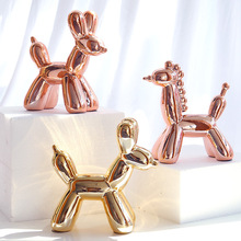 Modern Abstract Ceramic Balloon Dog Statue Sculpture Ornaments Home Decoration Accessories Animal