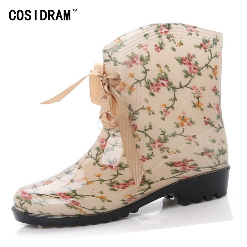 2015 Fashion Women Rain Boots Lace Up Leopard Boots Ladies Flats Waterproof Rubber Ankle Boots
