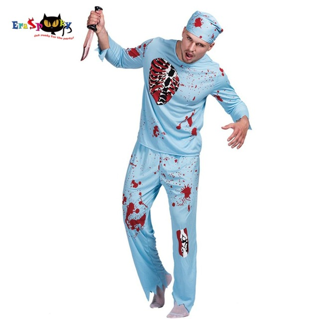 6b3f59600b2c Men Walking Dead Doctor Zombie Bloody Surgeon Costume Carnival Party Adult  Male Fancy Outfits Scary Bone Halloween Costumes