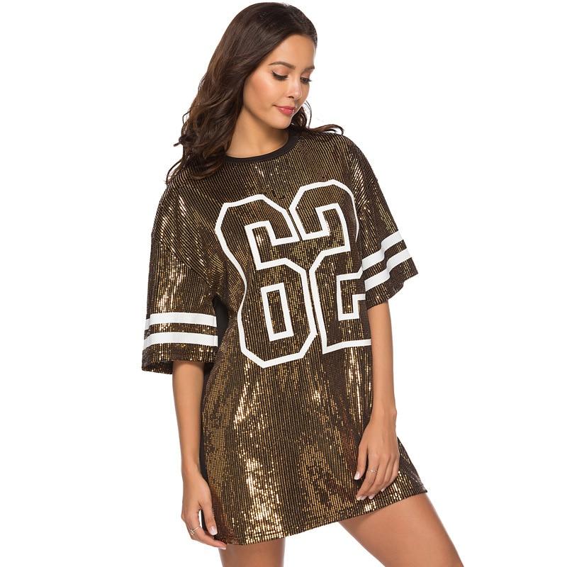 Sequins Print Loose Short Sleeve Dress 14