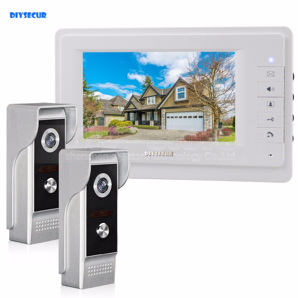 DIYSECUR 7 inch TFT Color LCD Display Video Door Phone Video Intercom Doorbell 700TVLine HD IR Night Vision Camera 2V1 hd villa type wired video doorbell 7 inch color camera screen night vision doorbell with memory card
