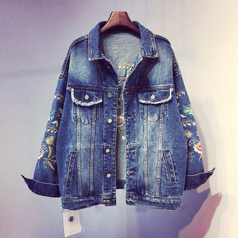 Femmes Bleu Automne Taille Jq07 Et Grande Sauvage Denim Brodé Nouvelles 2018 Broderie De Lâche Veste Printemps ZawqI4I