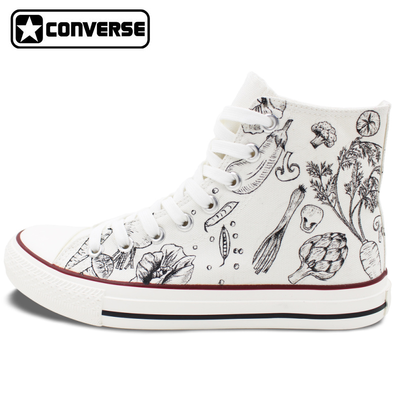 Classic White Converse All Star Hand Painted font b Shoes b font Design Vegetables Patterns Gifts