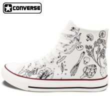 Classic White Converse All Star Hand Painted Shoes Design Vegetables Patterns Gifts for Men Women High Top Canvas Sneakers