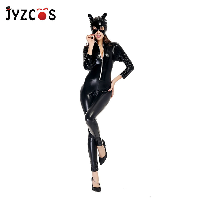 JYZCOS Sexy Catwoman Costume Adult Women Black Patent Leather Stretchable Catsuit Halloween Purim Cosplay Outfit