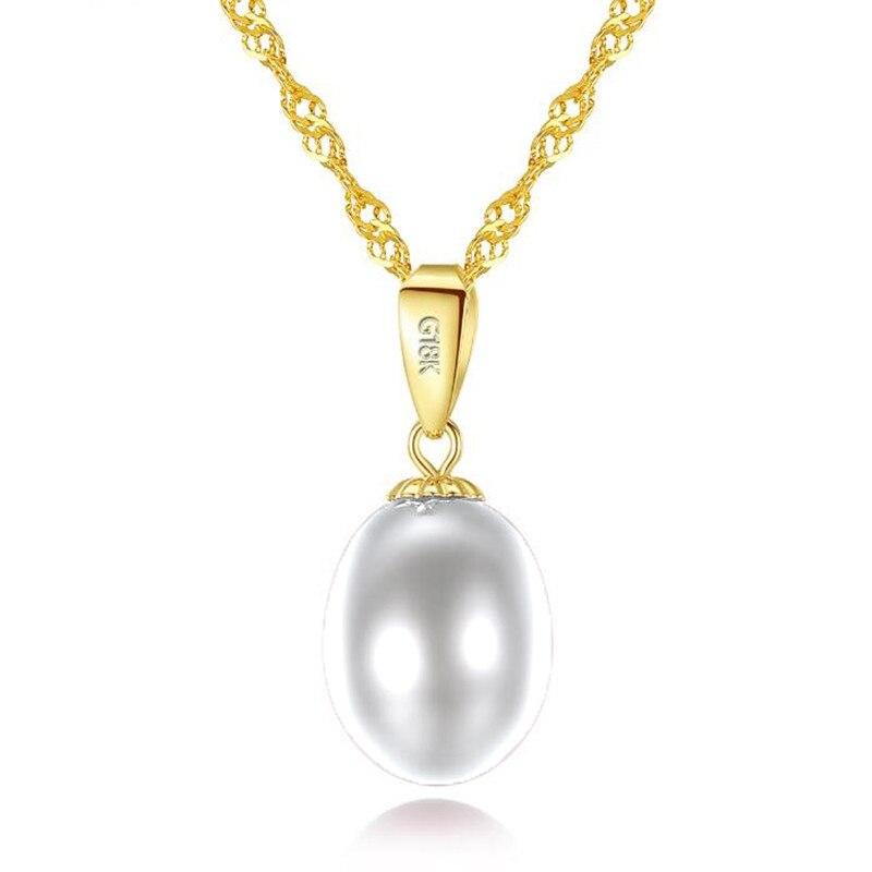 18 K or pendentif naturel perles d'eau douce bijoux colliers et pendentif pour les amoureux marque fête perle pendentifs envoyer 18 K colliers