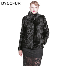 DYCCFUR 2017 real mink fur coat natural Warm fur Solid mink coats full sleeve genuine jacket lady slim black fur coat